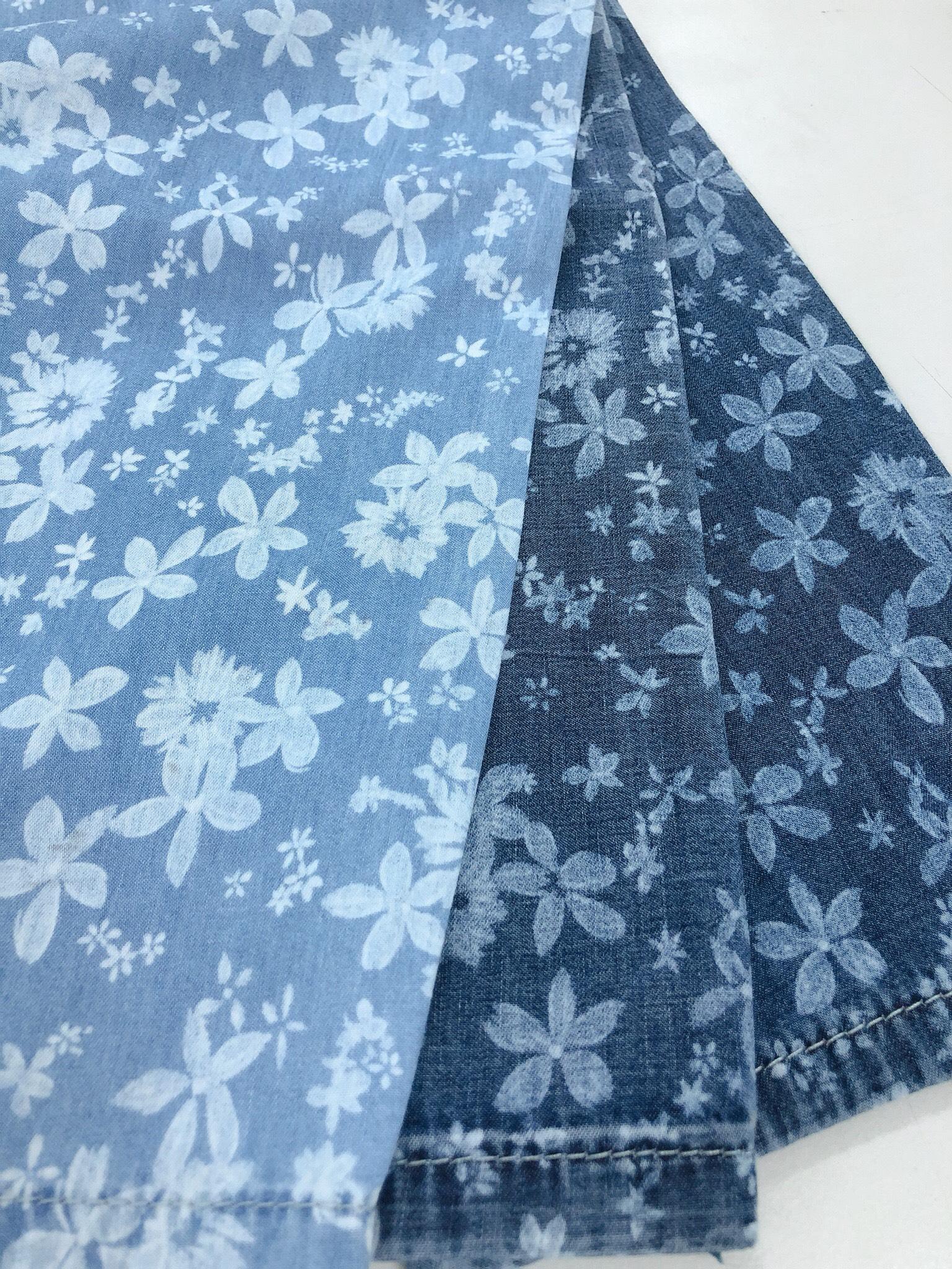 Vải jean phối hoa